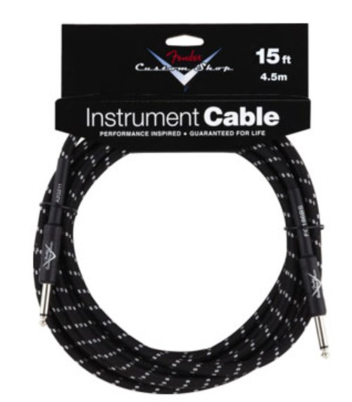 Fender Custom Shop Performance Series Cable 15 ft Black Tweed Instrument Cable 099-0820-051