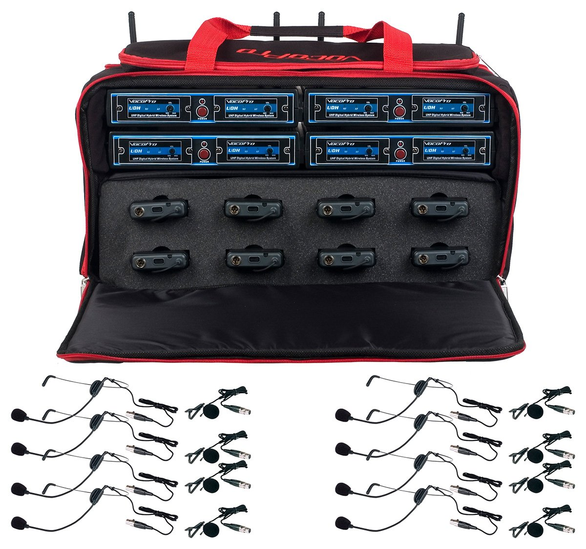 Eight Channel Hybrid Wireless Headset/Lapel Microphone System In A Bag