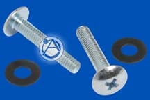 40 count #10-32 phillips head chrome screws and 40 plastic washers