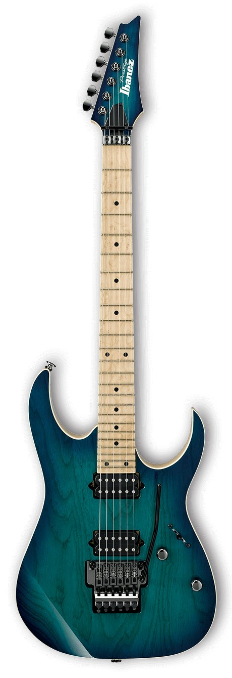 RG Prestige 6-String Left Handed Electric Guitar with Case - Nebula Green Burst