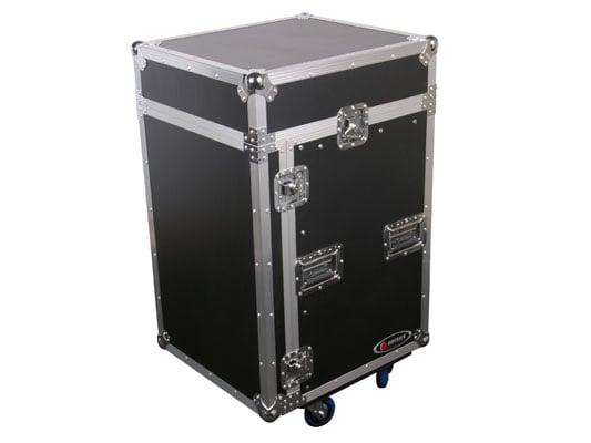 Pro Combo Rack Flight Case with Wheels, 10RU Top Slanted Rack & 14RU Bottom Vertical Rack