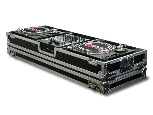 """Universal DJ Coffin Case with Wheels, Holds a 12"""" Format DJ Mixer & 2 Turntables in Standard Position"""