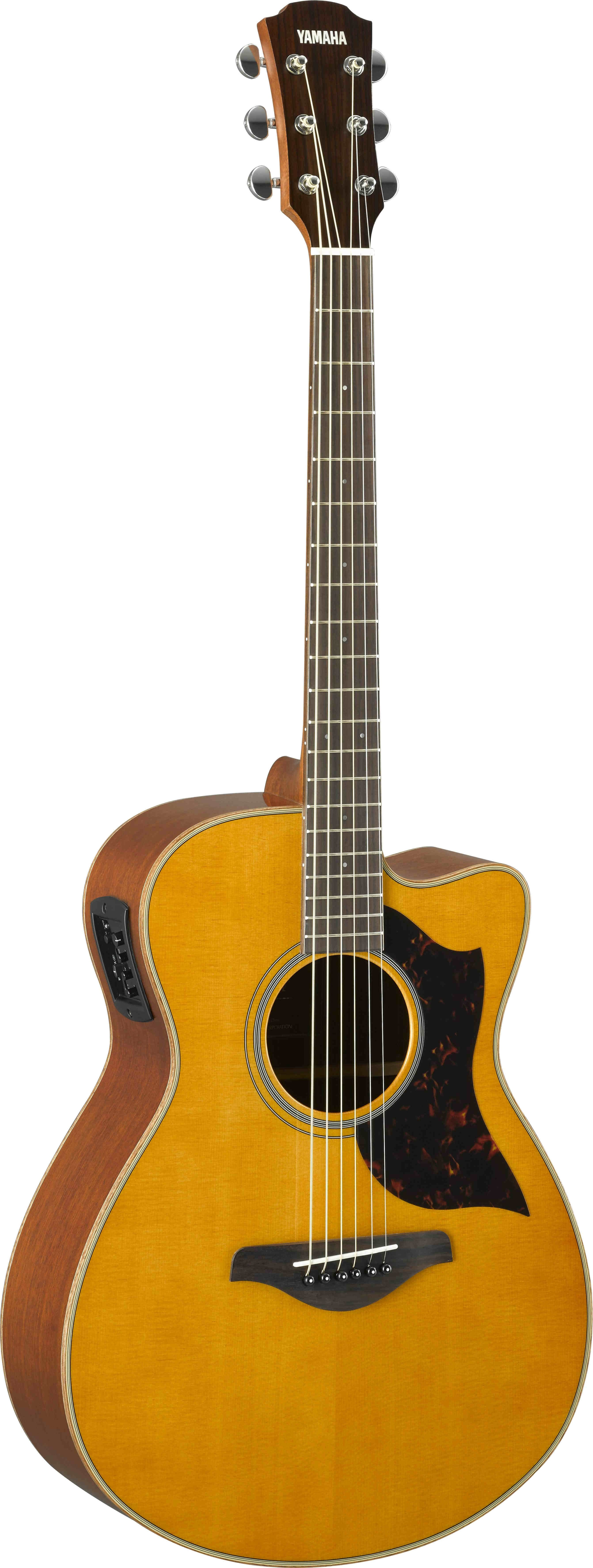 Vintage Natural Small Body Cutaway Acoustic-Electric Guitar