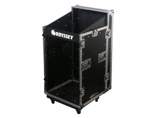 Space Saver Combo Rack with Wheels, 11RU Top Slanted Rack, and 12RU Bottom Vertical Rack