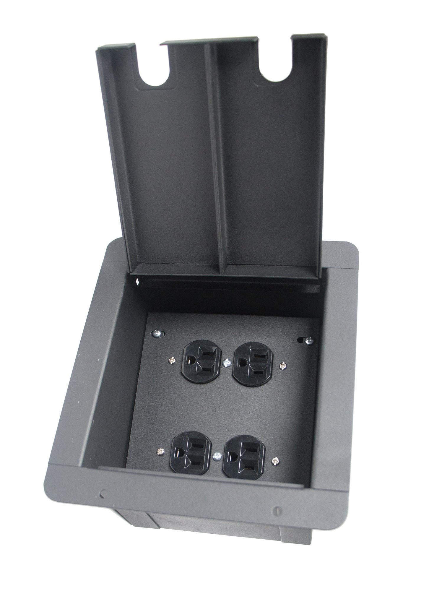 Recessed Floor Box with Quad AC Outlets