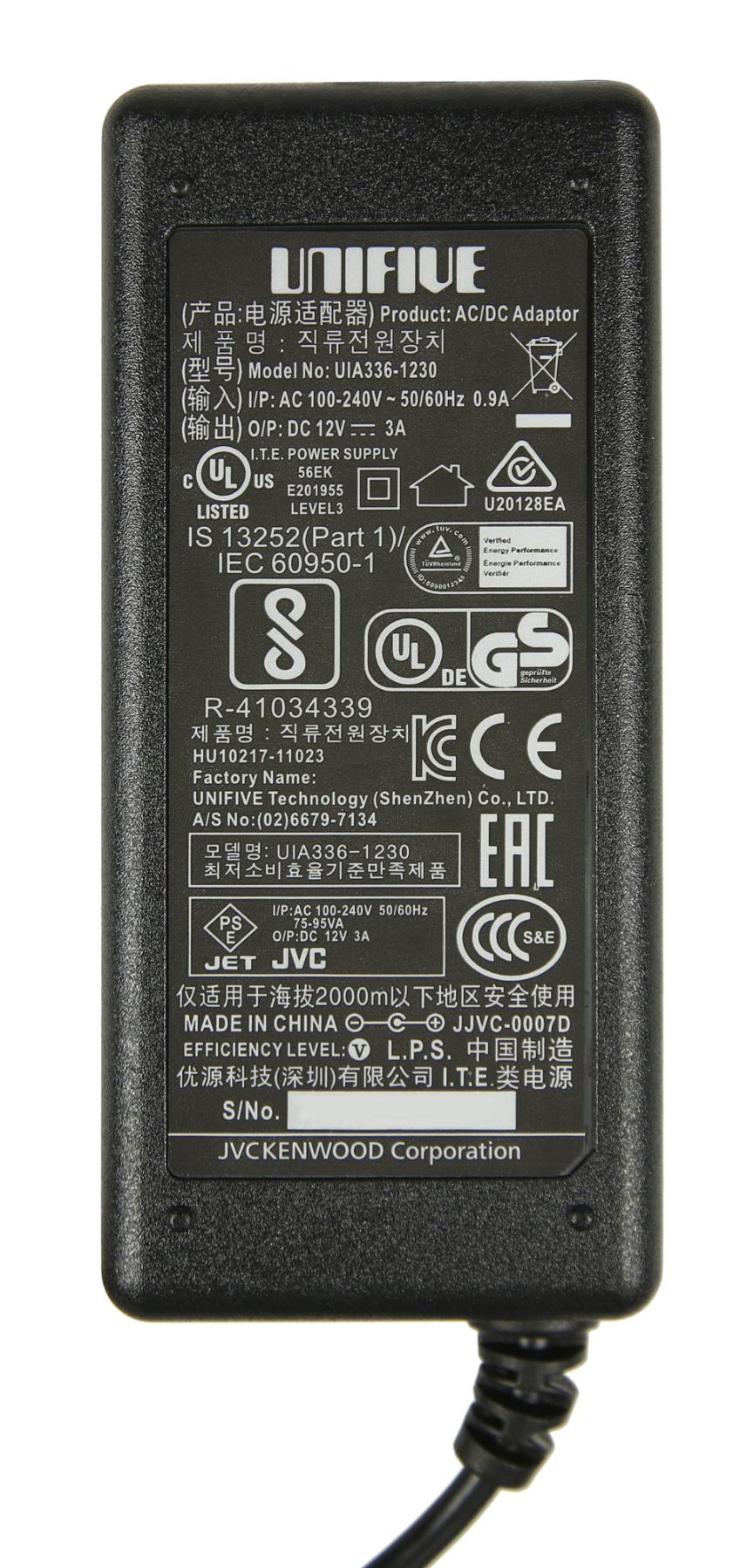 JVC QAL1422-006  GY-HM600U AC Adaptor QAL1422-006