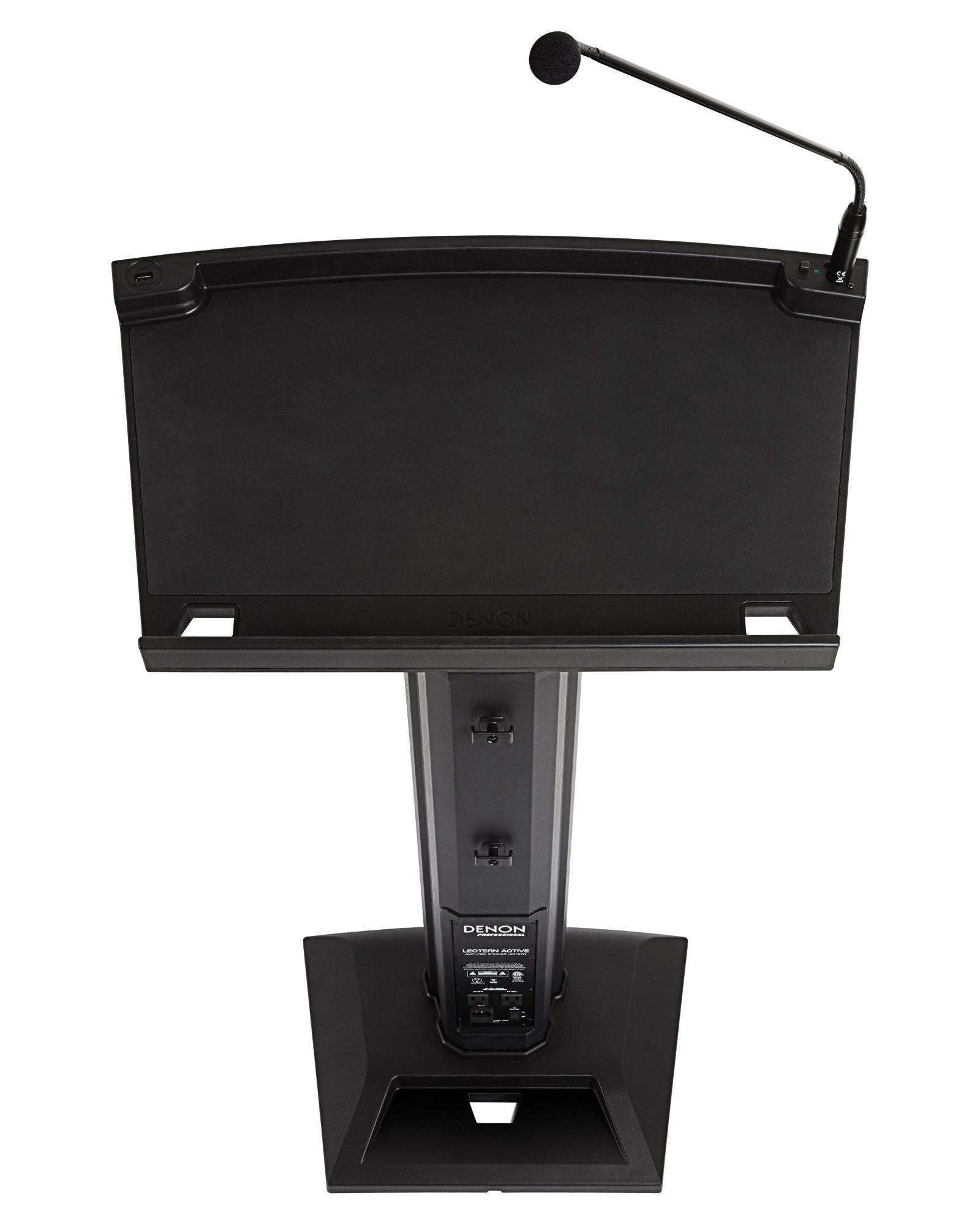 Amplified Lectern with Built-in Speakers and Gooseneck Microphone
