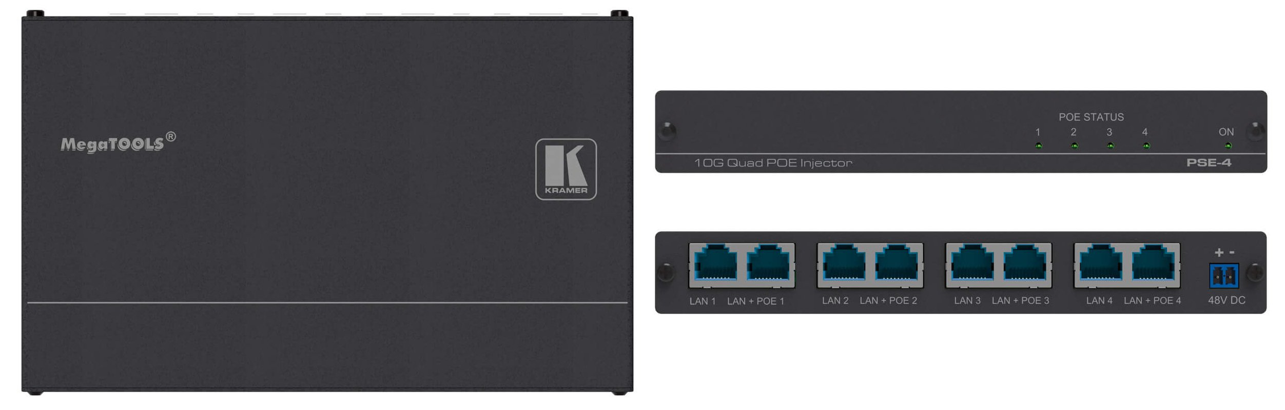 Quad 10G HDBaseT and Ethernet Power Injector