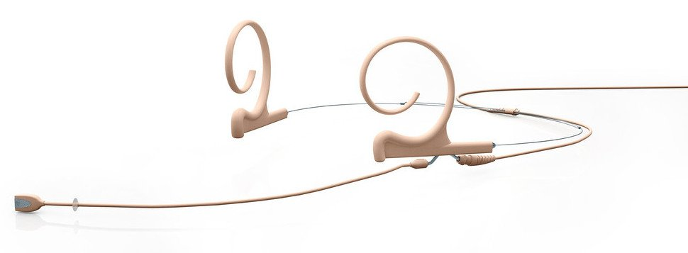 d:fine Omnidirectional Dual Ear Headset Microphone with Long Boom and TA4F Connector, Beige