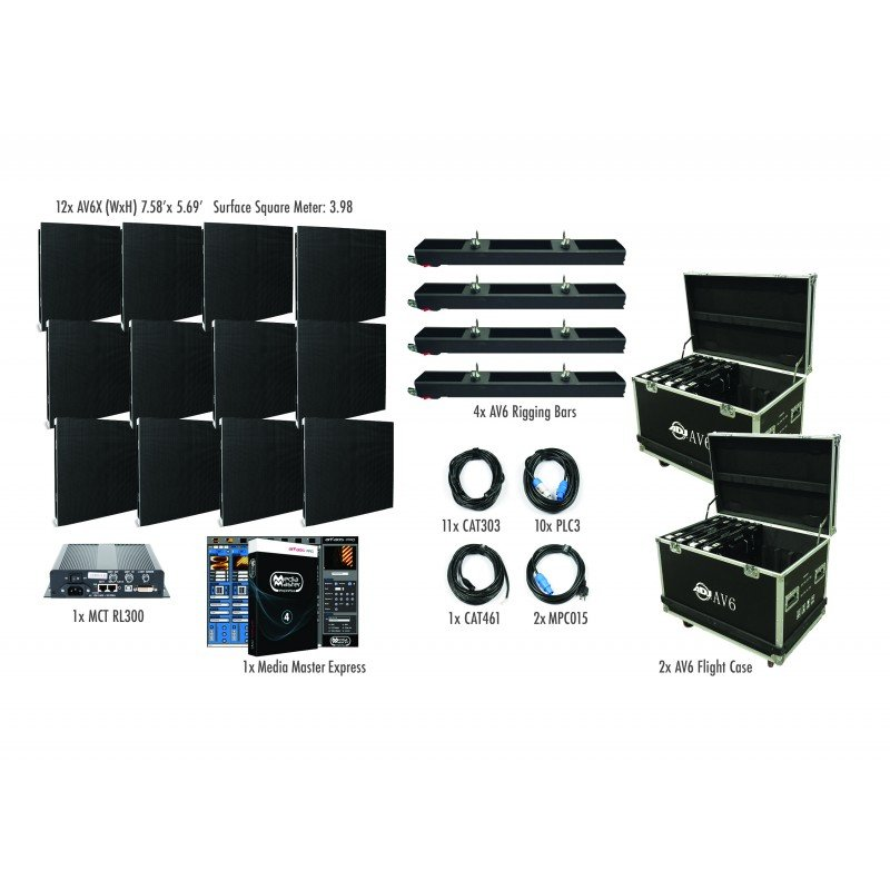 4x3 AV6X Video Wall Package with 12 panels
