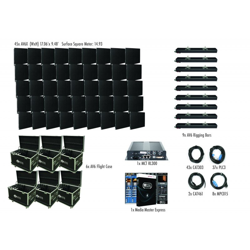 9x5 AV6X Video Wall Package with 45 panels