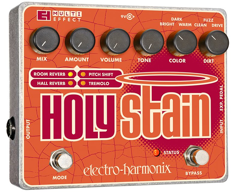 Multi-Effect Pedal, Distortion/Reverb/Pitch/Tremolo, PSU Included