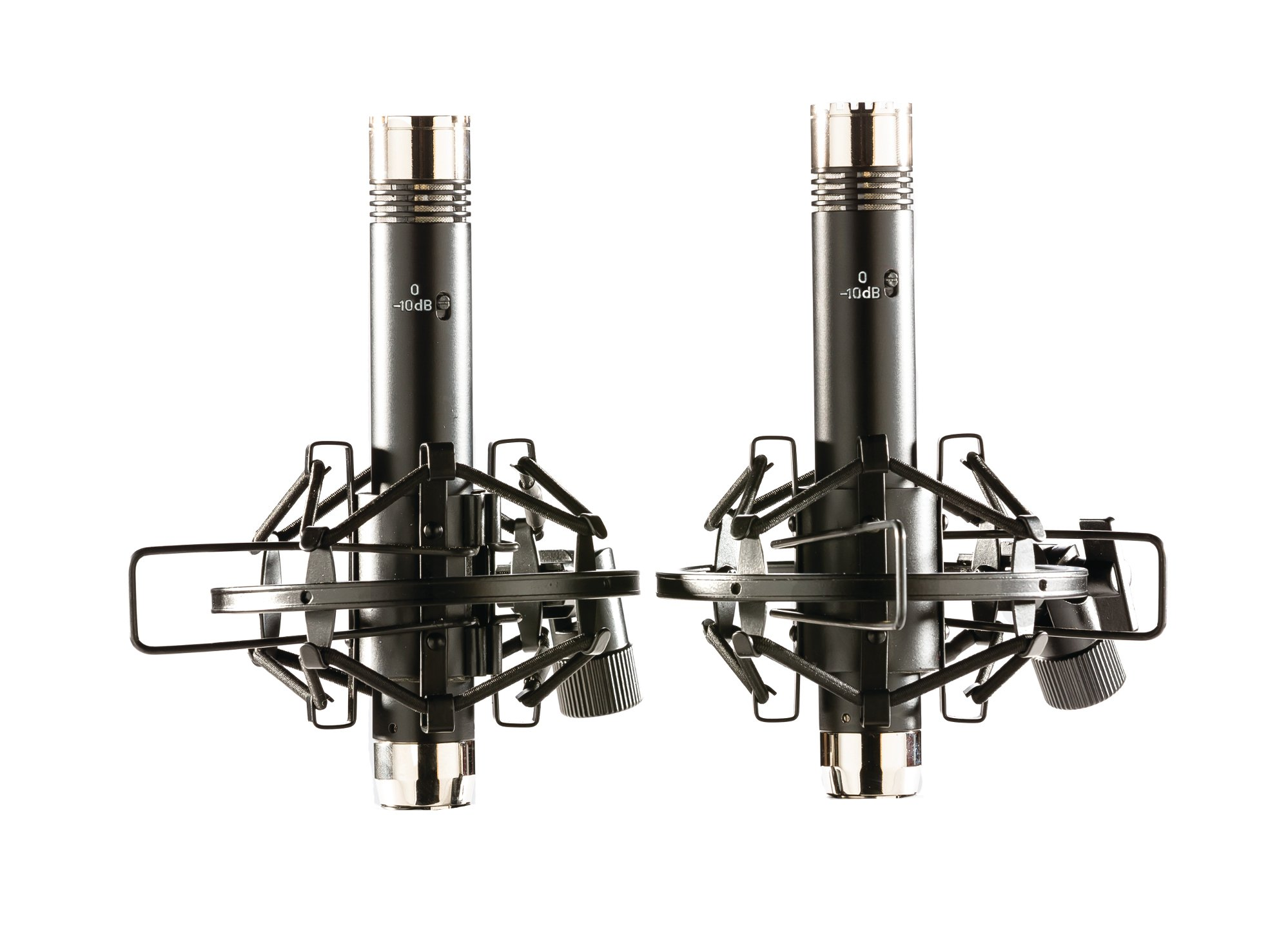 Matched Pair Pencil Condenser Microphones with Shockmounts