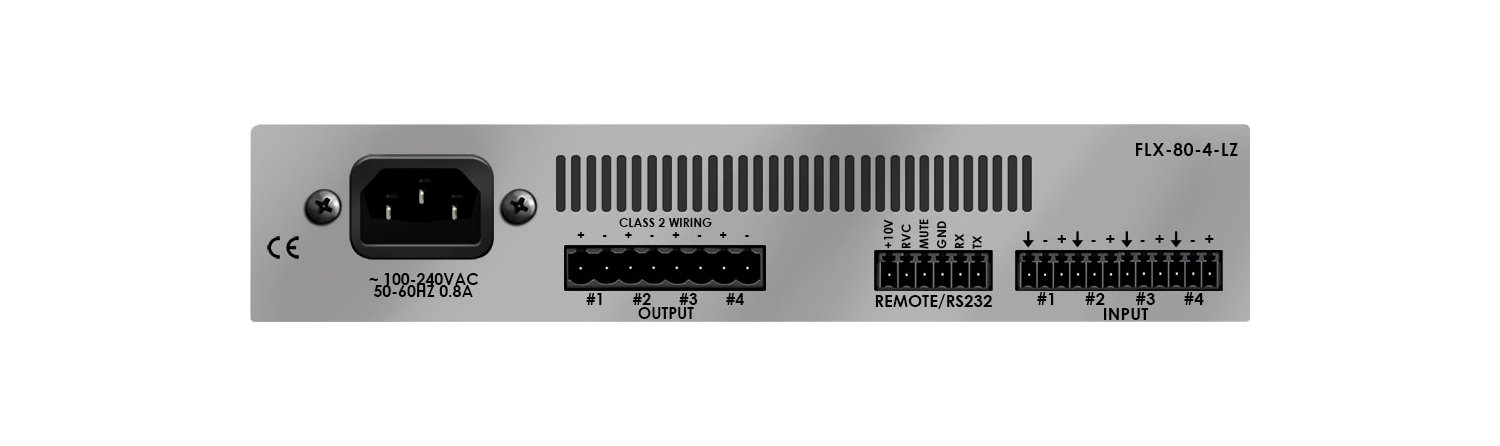 Rack-Mountable 80W x 4-Channel DSP-Enabled Analog Amplifier @ 4 Ohms