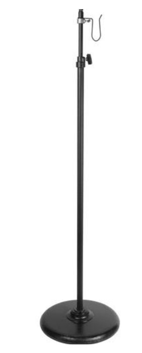 "3 - 5' Telescopic Light Stand with 18"" Round Base in Black"