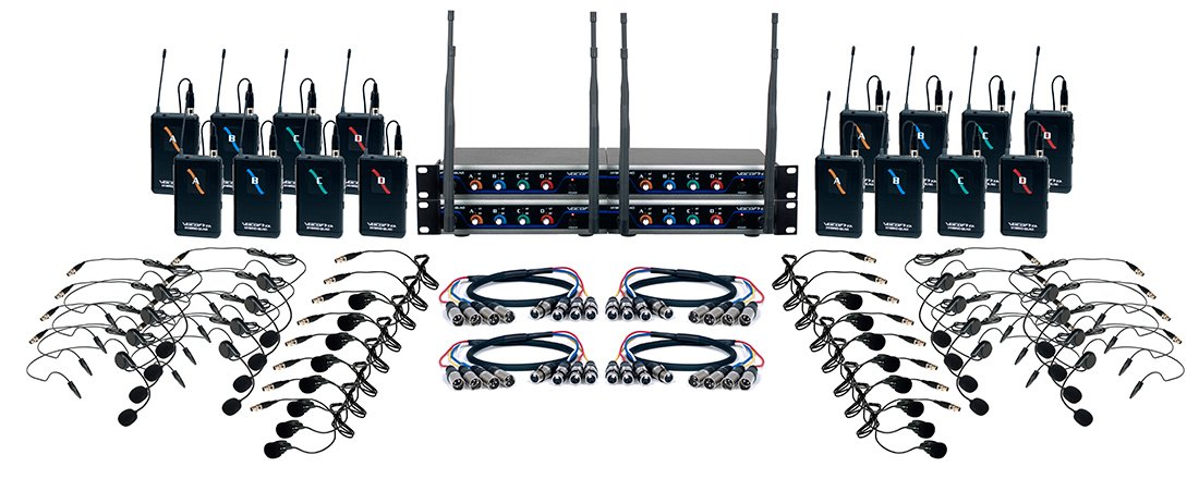 16 Channel UHF Hybrid Wireless Headset and Lapel Micropohone System