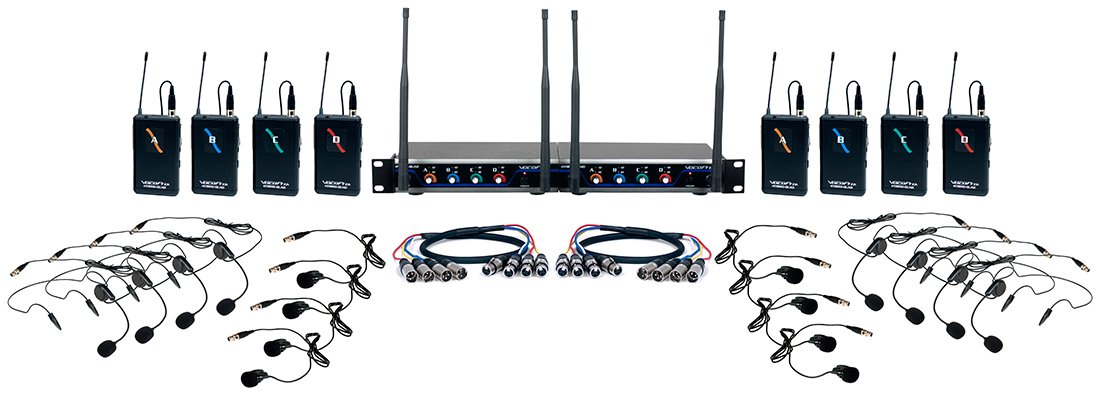 Eight Channel UHF Wireless Headset and Lapel Mic System with Mic-On-Chip Technology