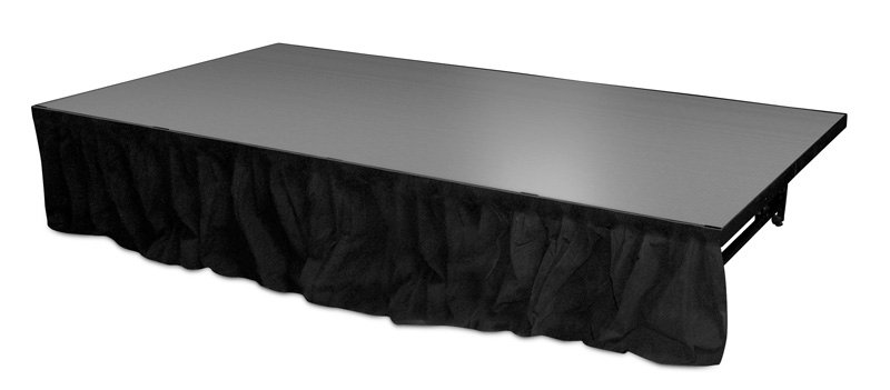"""Staging 101 8' Wide x 16"""" High Black Skirt with Clips"""