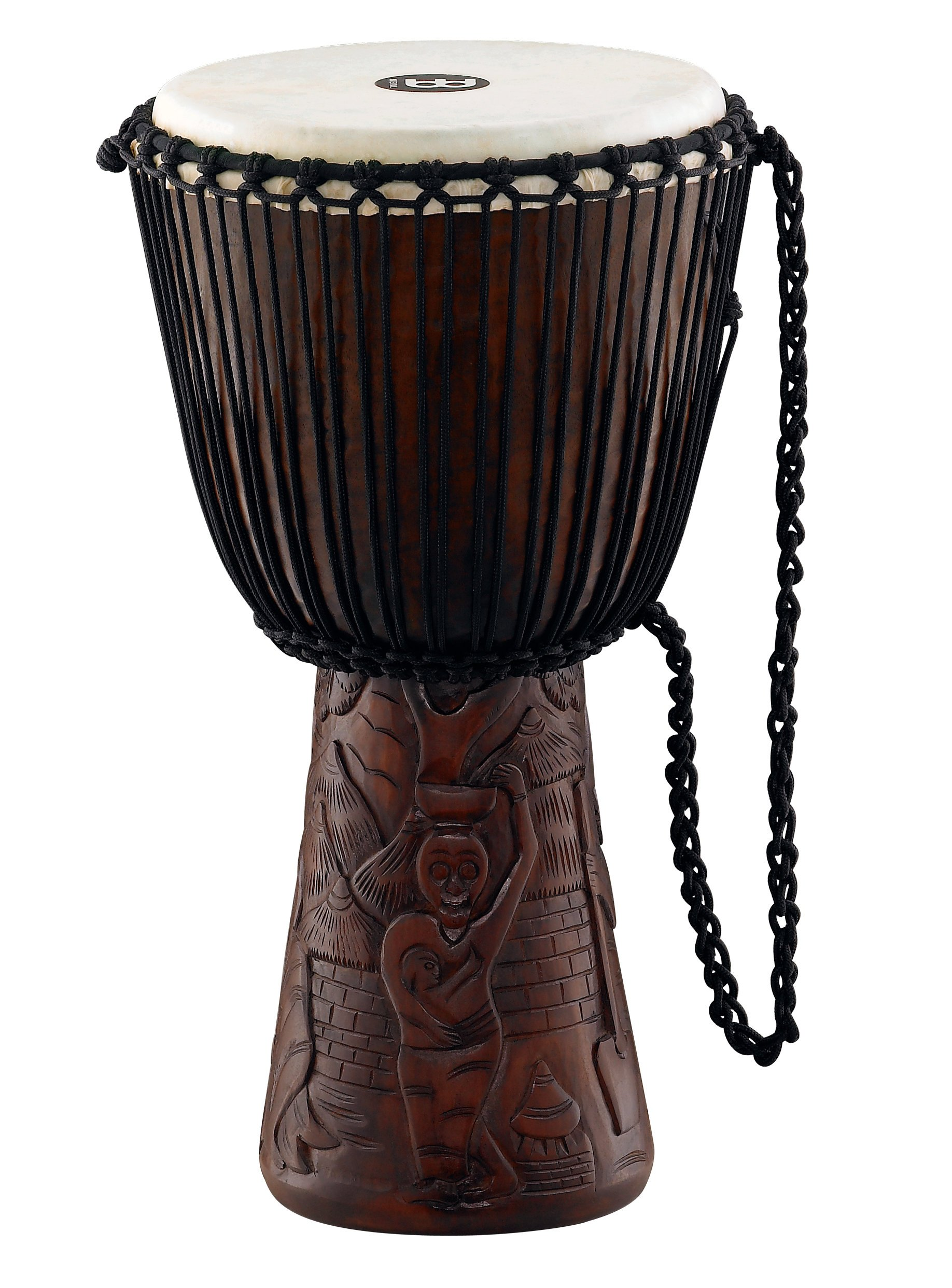 "12"" African Style Djembe with Village Carving on Base"