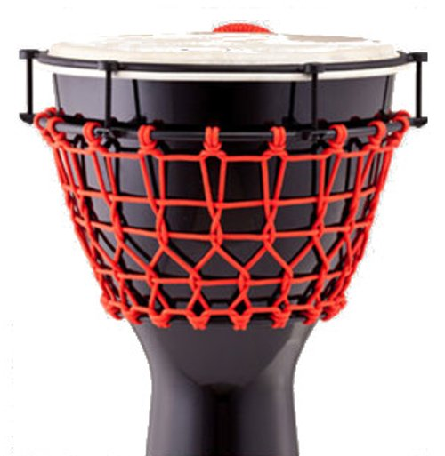 "14""Thai Oak Djembe in Gloss Black with Red Ropes"