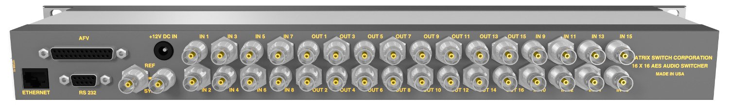 16 Input 16 Output AES Audio Router With Button Panel
