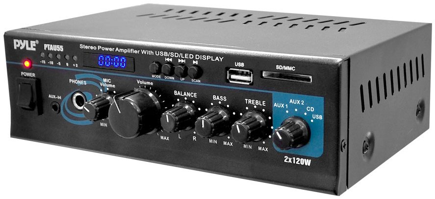 Mini 2 x 120 W Stereo Power Amp with USB/SD Card Readers