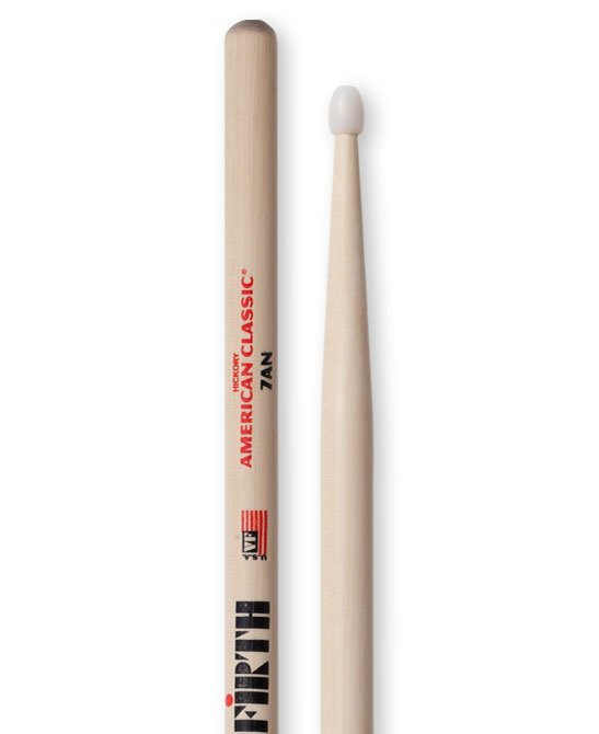 1 Pair of American Classic 7A Drumstics with Nylon Tear Drop Tip