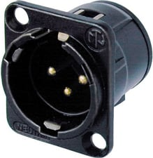 3-Pin Male XLR Panel Mount Receptacle, Black, Gold Contacts