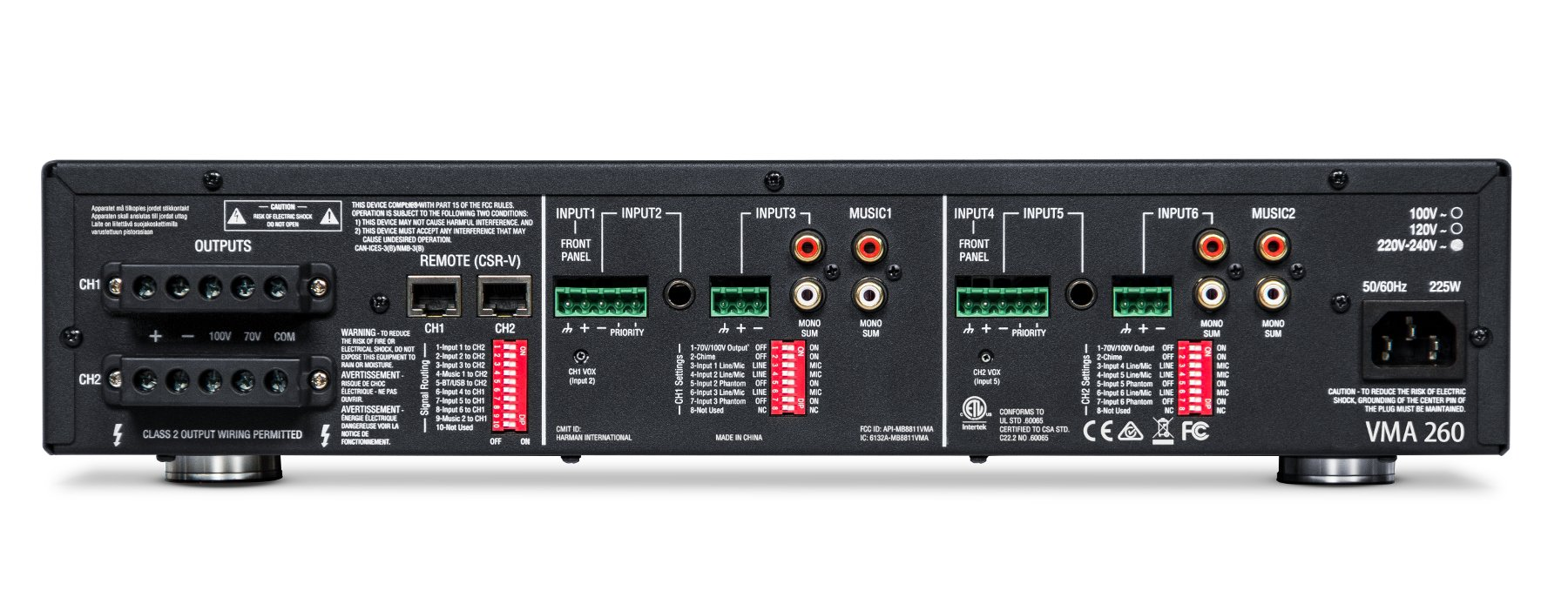 JBL VMA 260 Mixer/Amplifier 8 Input x 2 60-Watt Output VMA260