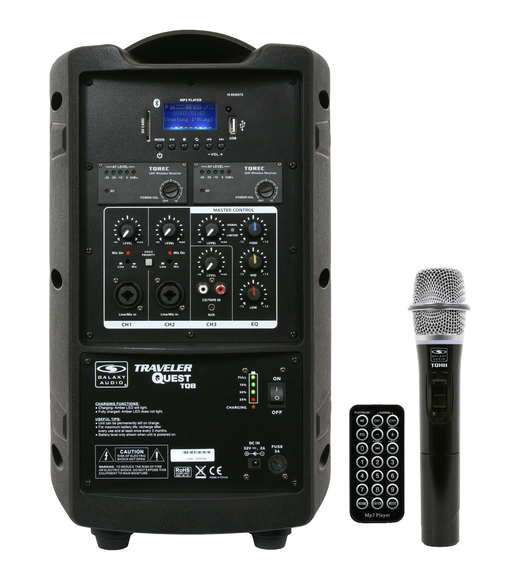"Battery-Powered Portable Sound System with 8"" Speaker & Wireless Handheld Microphone, 517.550MHz"