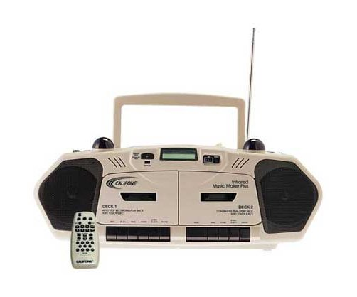 Califone International 2395IR Infrared Music Maker Plus Dual Cass/CD Boombox with Dual Infrared Transmitters & Multimedia Player 2395AV-IR