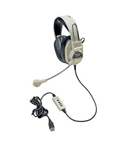 Stereo Headset in White with Microphone and USB Plug