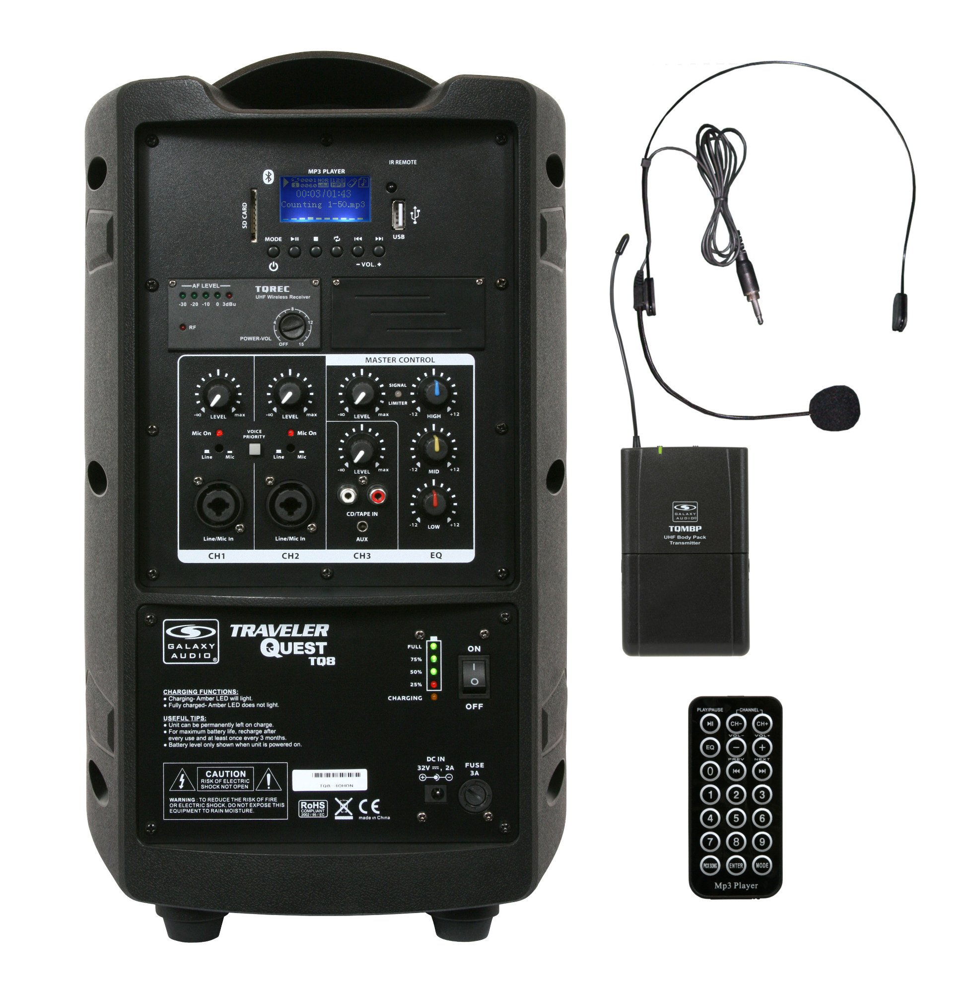 "Battery-Powered Portable Sound System with 8"" Speaker & Wireless Headset, 521.850MHz"