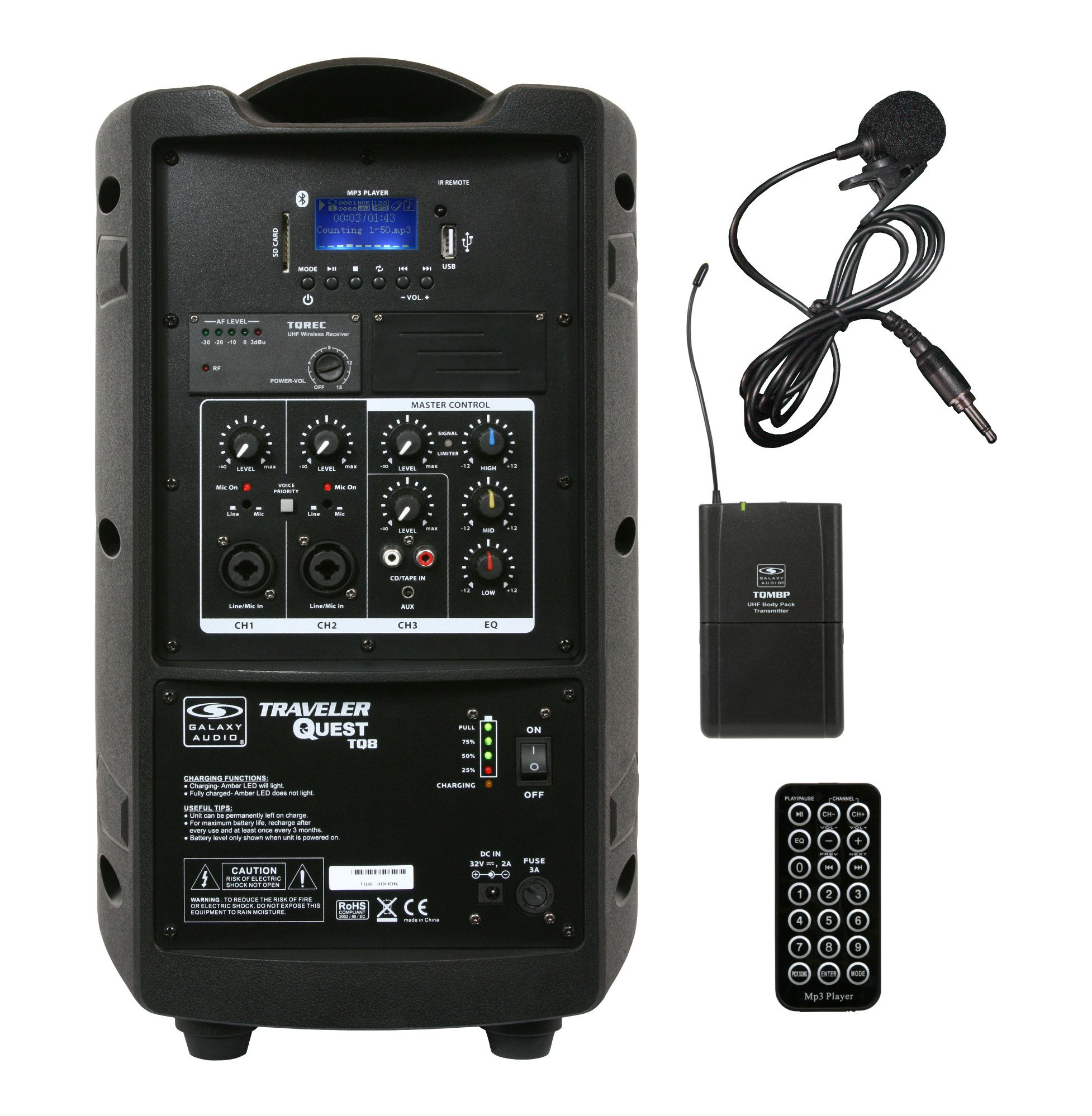"Battery-Powered Portable Sound System with 8"" Speaker & Wireless Lavalier Mic, 521.850MHz"