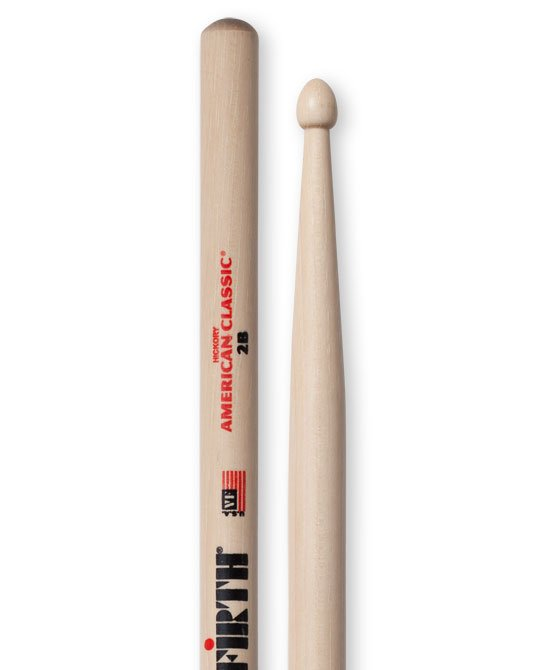 1 Pair of American Classic 2B Drumsticks with Wood Tear Drop Tip
