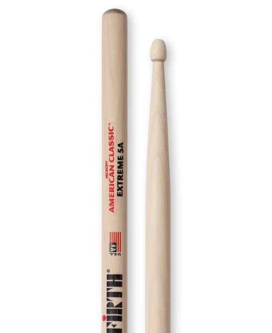 1 Pair of American Classic Extreme 5A Drumsticks with Wood Tear Drop Tip