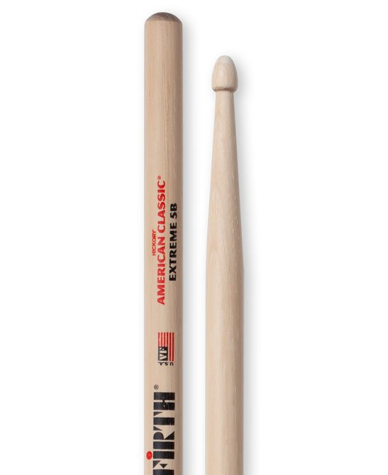 Vic Firth X5B 1 Pair of American Classic Extreme 5B Drumsticks with Wood Tear Drop Tip X5B