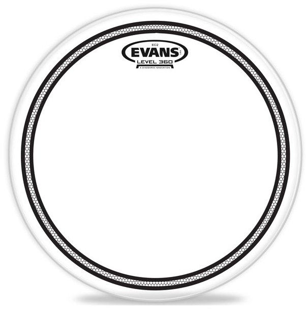 "Evans TT12EC2S 12"" EC2 Clear Drum Head with Sound Shaping Ring TT12EC2S"