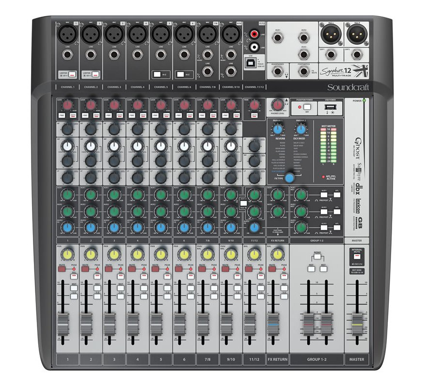 12-Input Analog Mixer with Multi-track USB Interface and Onboard Effects