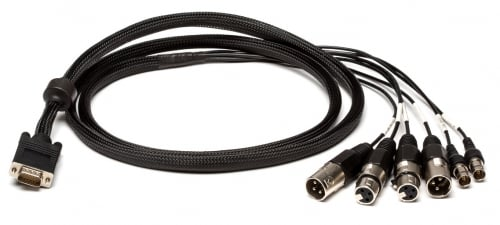 Digital I/O and Sync Cable for E44. (4) XLR + (2) BNC to HD15