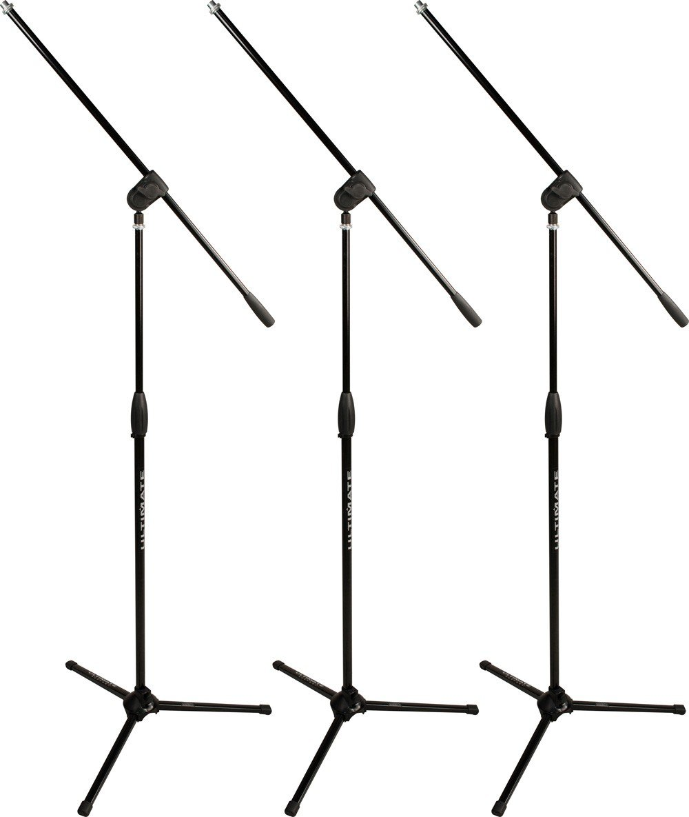 (3) Classic Series Microphone Stands, Each with 3-Way Adjustable Boom Arm