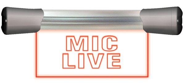 Single Flush Mounting 20cm 'MIC LIVE' Sign