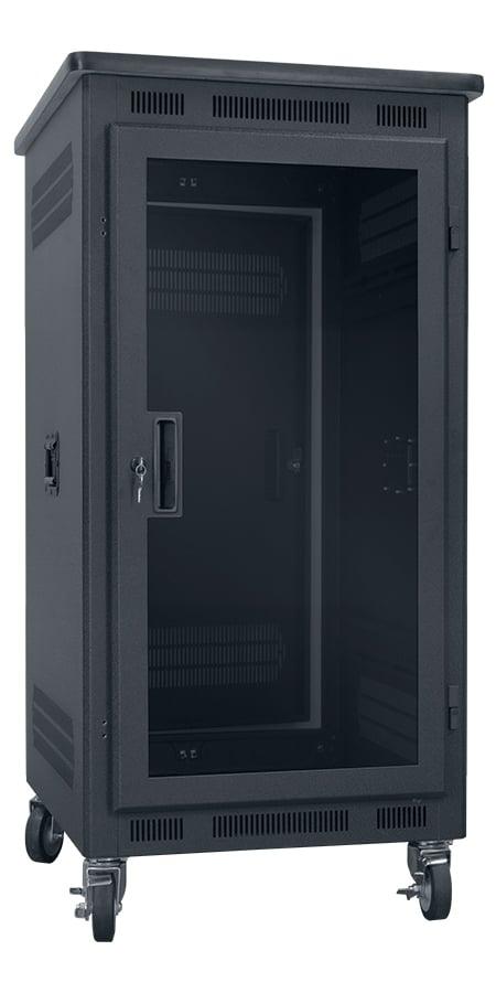 """21RU, 27"""" Deep Portable Rack with Plexiglass Door and Premium Top"""