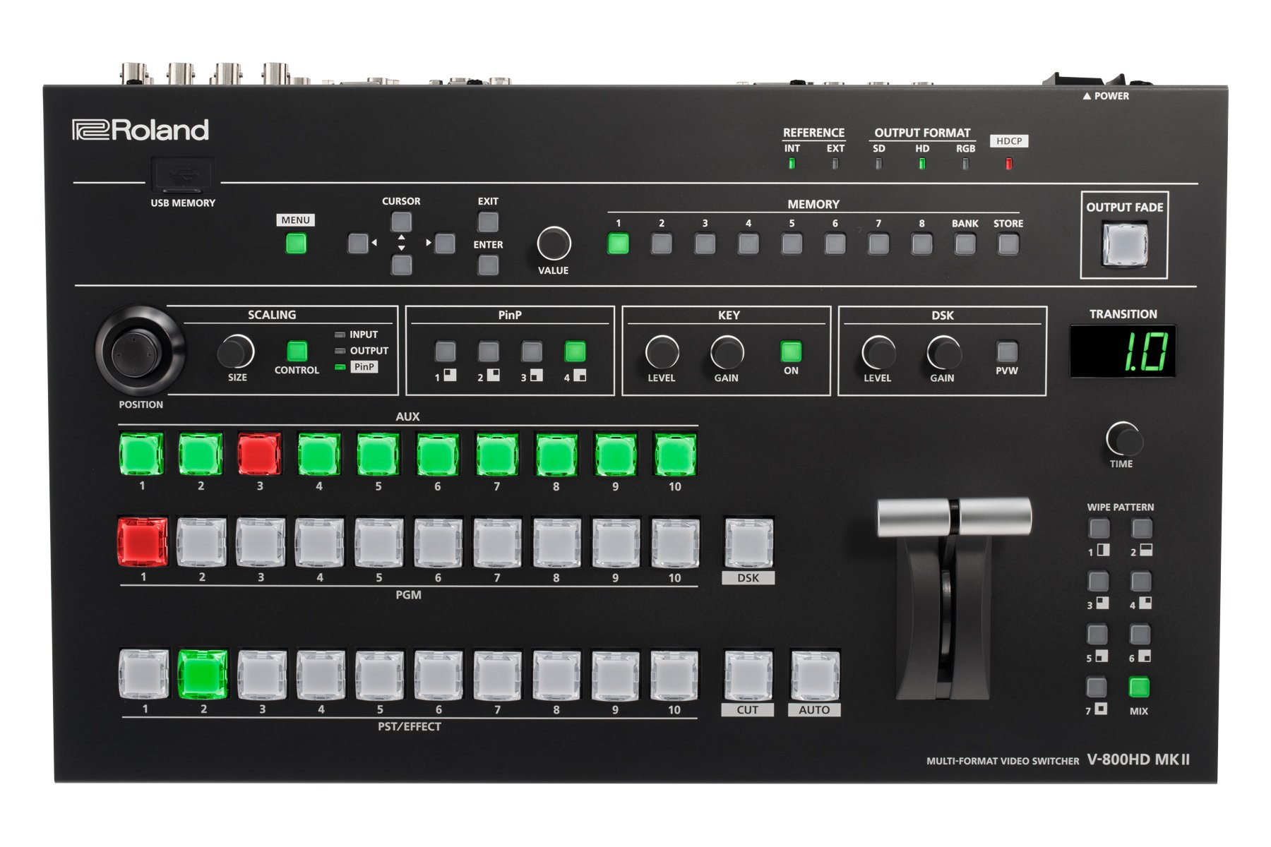 Multi-Format Video Switcher with 16 Inputs and 8 Cross Points