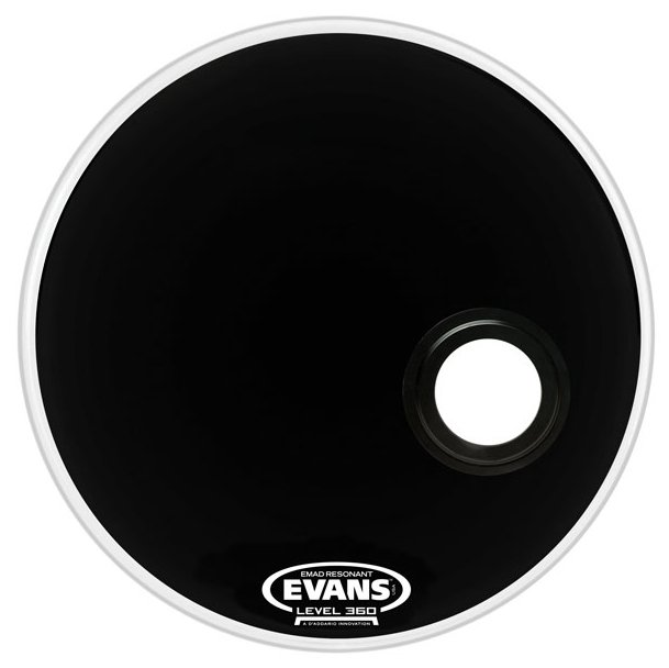 "20"" Black Resonant Bass Drum Head"