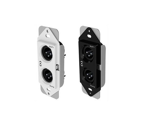 1-Gang Passive Wall Plate with 2 Male XLR Connectors