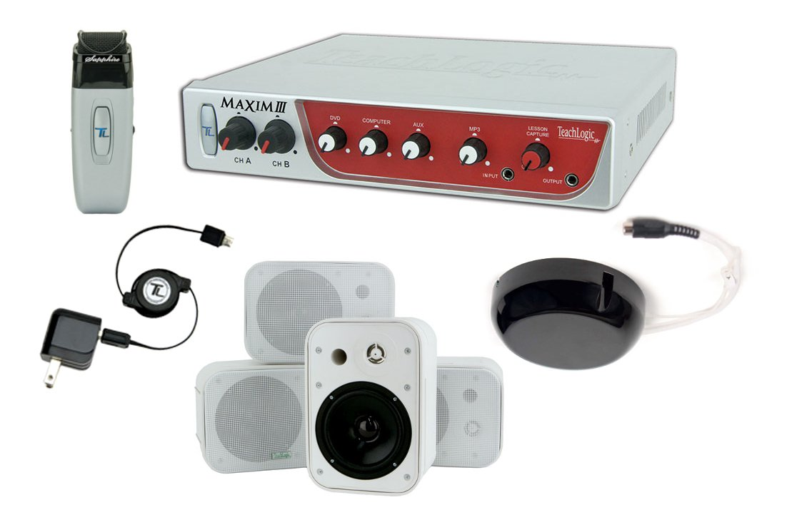 Maxim III System, with Receiver/Mixer/Amp, IR Wireless Mic & Wall-Mount/Book Shelf Speakers