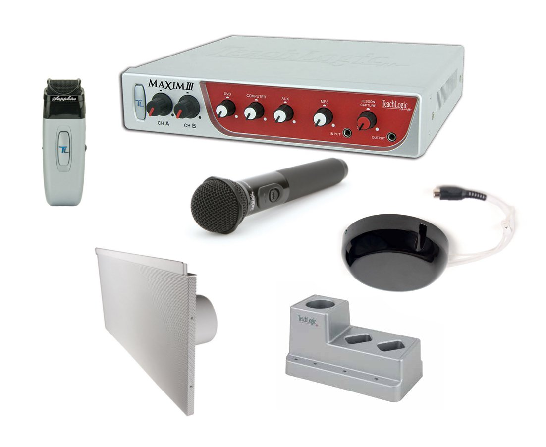 Maxim III System, with Receiver/Mixer/Amp, IR Wireless Mic, Handheld Wireless Mic & 4 Lay-In Speakers
