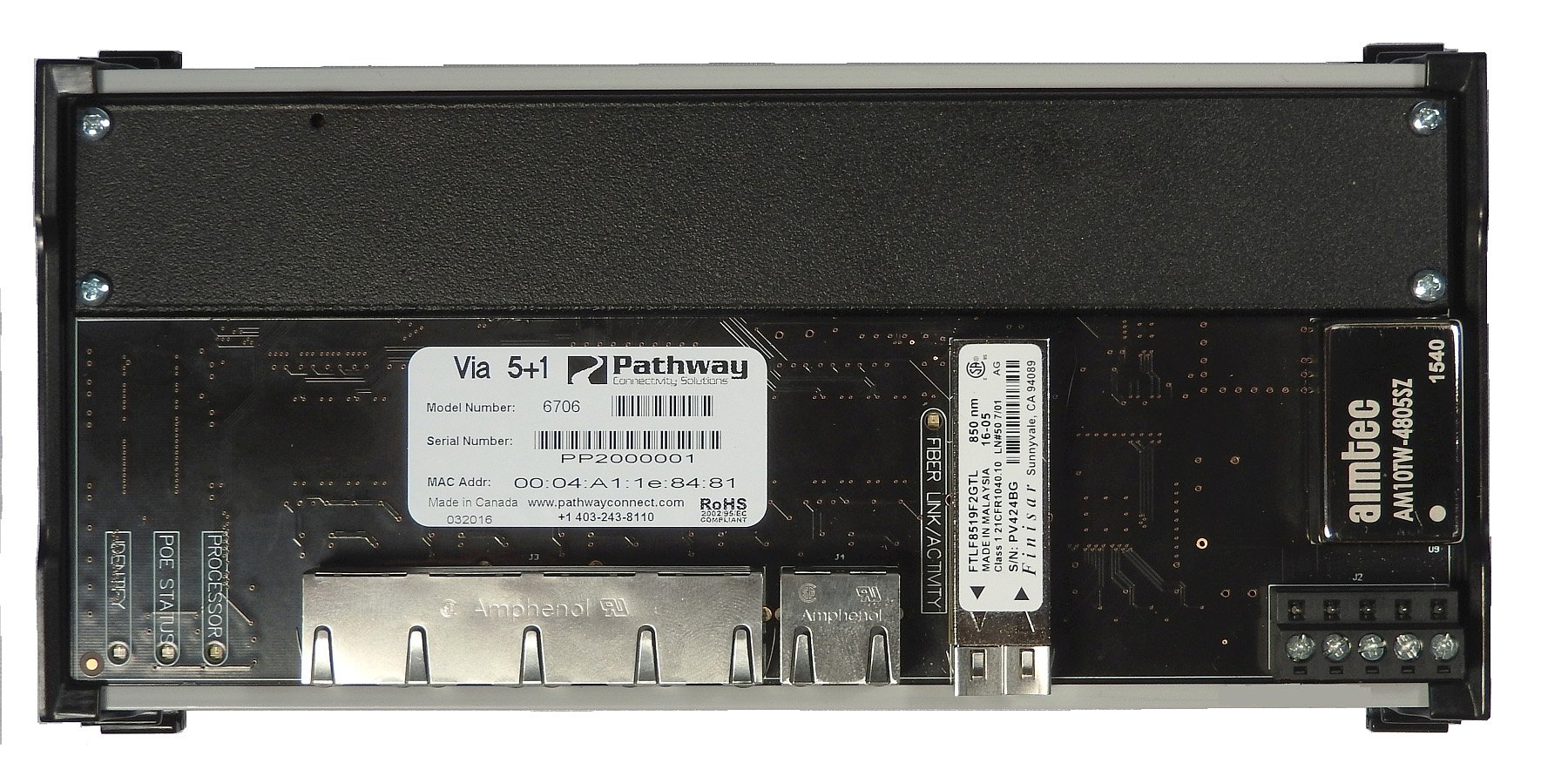 Pathport VIA 5 DIN-Mountable Gigabit Ethernet Switch with LC Fiber Connector