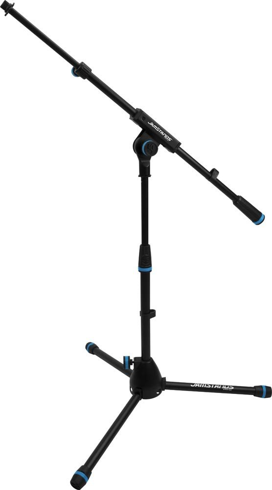 JamStands Series Low-Profile Mic Stand with Telescoping Boom and Blue Accent Bands